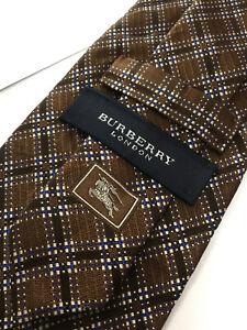 Authentic BURBERRY LONDON Classic Plaids Design On Brown 100% Silk Necktie Tie