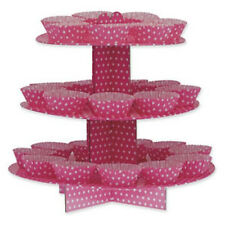 Elegant Pink & White Spot Design 3 Tier Cup Cake Tree / Stand - New