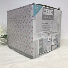 Bath In A Box Shower Curtain Liner Hooks Soap Dish Tumbler Toothbrush Holder New