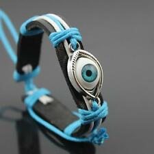 Blue Evil Eye Punk Bracelet Leather Braided Bangles