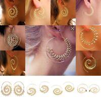 1 Pair Retro Women Circles Round Spiral Tribal Hoop Earrings Ear Stud Jewelry
