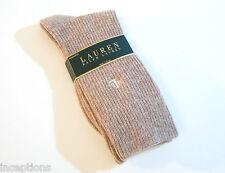 Ralph Lauren Ladies Socks Angora Wool Blend Waffle Weave Heather Linen - NEW