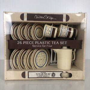 Chilton Globe Design 26 Piece Plastic Tea Set For Four Kitchenware Toys Playset
