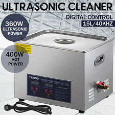 Stainless Steel 15L Liter Industry Ultrasonic Cleaner Heated Heater w/Timer New
