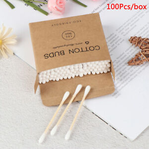 100x Double Head Bamboo Cotton Swab Makeup Buds Wood Sticks Nose Ears CleaniY`hg