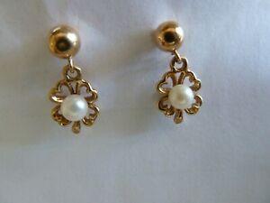 14kt Gold Pearl Dangle Earrings Beautiful Very elegant low shipping cost
