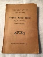 1921 Constitution Crystal Fount Lodge No. 10, Milford Delaware DE, Odd Fellows