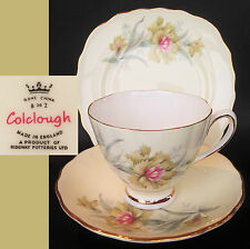 Colclough c1960s Carnation Pattern 8100 English Vintage Bone China Trio Set