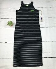 Earth Yoga Womens Maxi Dress Organic Cotton Size S Small Striped Stretch New