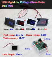 DC 4.5V-40V LED Volt Voltmeter High-Low Voltage Alarm Detector 5v 6v 12v 24v Car