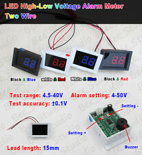 Digital LED Voltmeter DC 4.5v-40v High-Low Voltage Alarm Tester 5v 12v 24v Car