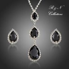 Platinum Plated Black Swiss Cubic Zirconia Pendant Necklace & Earrings Set S615