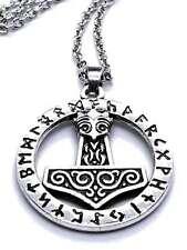 Martillo de Thor Mjolnir Plata Chapado Runas Cuervo Skane Colgante 45.7cm Cadena