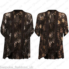 Ladies Women's Floral Lace Short Sleeve Open Cardigan Kimono Top Plus Size 14-28