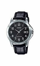 Casio MTP-VS02L-1B Men's Standard Solar Leather Band Black Dial Date Watch