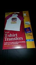 """#289 NIP AVERY SMALL GRAPHIC IRON ON T-SHIRT TRANSFER SHEETS (8) PACK 3387 4""""×6"""""""