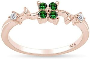 Simulated Emerald Engagement Wedding Anniversary Ring 14k Rose Gold Over Silver