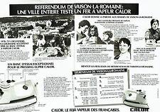 PUBLICITE ADVERTISING 016  1978  CALOR le fer à repasser vapeur (2p) Vaison-La-R