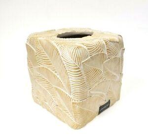 CROSCILL BEIGE,TAN 3D LEAF SHAPE PATTERN RESIN TISSUE BOX COVER,NAPKIN HOLDER
