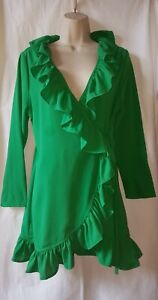 Enerald Green Wrap Over Frilly Dress Size14 Petite BOOHOO