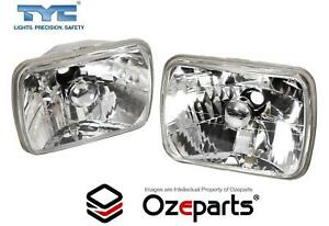 Pair GLass Lens Crystal Clear Head Light Lamp For Mitsubishi Triton 1986~2006