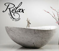 RELAX LET GO AND UNWIND BATHROOM LETTERING QUOTE VINYL WALL DECAL DESIGN DECOR