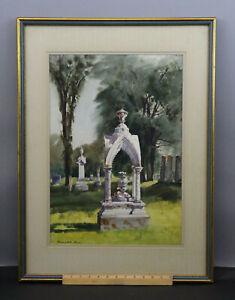 1971 Original RANULPH BYE Watercolor Painting, Maine Cemetery Landscape NR