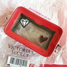 AUTHENTIC VICTORIA'S SECRET TRANSPARENT POUCH  BEAUTY CUBE - RED PATCH ( TRAVEL)