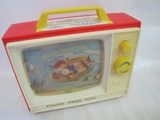 Vintage 1966 FISHER PRICE TOYS #114 Two Tune GIANT SCREEN Music Box TV Works!