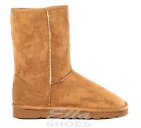 Ella Midi Chestnut Ladies Vegan Boots Slip On Ankle Faux Fur Boot