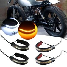 2X Switchback W/A + 2X Amber LED DRL/Turn Signal Light Strip Kit For Motorcycle