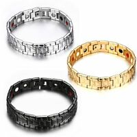 Men's Wide Black Gold Stainless Steel Magnet Health Wristband Bracelet Chain New
