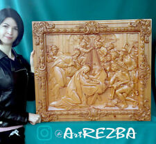 """32"""" Nativity of Our Lord (2), Birth of Jesus Orthodox Wooden Carved Icon Large."""