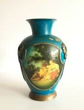 Antique Old Rare Original Brass Portrait Pottery Figure Painted  Pot Vase