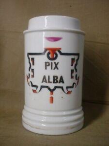 "Antique 1800's Apothecary Old  Porcelain Jar ""PIX ALBA"" w/MAKERS MARK"