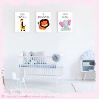 SET Safari Animal Bedroom Print Decor Baby Kid Room Nursery Boy Girl Sign Jungle