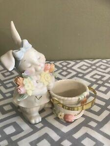 Lenox Easter Bunny Rabbit Basket With Pail Bucket