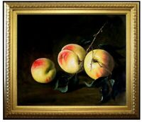 Framed Quality Hand Painted Oil Painting, Three Peaches Still Life 20x24in