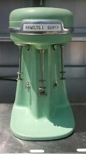 Hamilton Beach 3 Head 40DM Triple Mixer Milkshake Maker Jadeite Green Works Fine