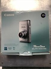 Canon PowerShot ELPH100 HS 12.1MP Silver Digital Camera w/ Charger Cables Box