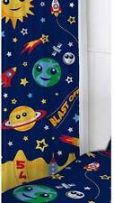 "SPACE BLAST OFF KIDS BLUE NAVY 66"" x 54"" PENCIL PLEAT CURTAINS PLANETS EARTH"