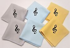 """6 Music Polish Cleaning Cloth For Guitar Bass Violin Treble Clef 8""""x8"""" 3 colors"""