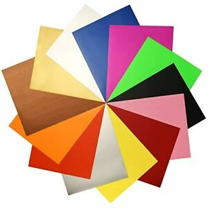 Heat Press Cricut Machine Transfer Vinyl HTV Sheets 12 Color Bundle Pack