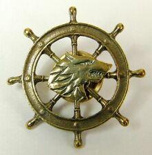 Sea Wolf - The Wheel - Russian Navy Military Badge - Brass Screwback 4cm New