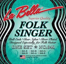 La Bella 840 FolkSinger Guitar Strings silver plated clear nylon