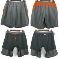 Marmot Mens Size Large Gray Orange Built in Compression Athletic Shorts Pants
