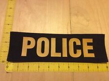 """Police Patch - 3"""" X 10"""" On Hook Backing, Yellow On Black (item 1039)"""