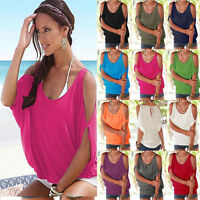 New Womens Summer Cold Shoulder Short Sleeve T-shirt Blouse Casual Baggy Top