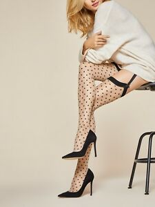 Fiore Illusion 20 Denier Sheer Stockings with Polka Dot Pattern -3 Color Choices