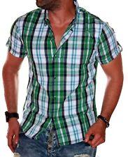 Herren Hemd kariert Herrenhemd Kurzarm Slim-Fit Party Büro Sommer gesteift L5.8